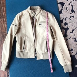 Members Only S faux cream leather classic bomber